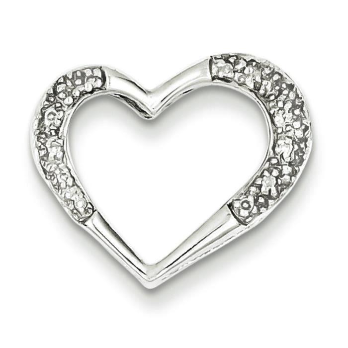 Argent 925/1000 Rhodié Pendentif en forme de cœur avec diamants bruts