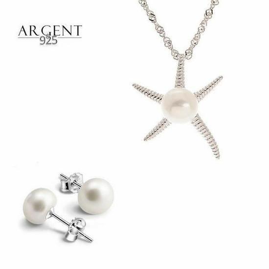 Parure Bijoux Perle de culture 10 mm étoile de Mer Argent 925