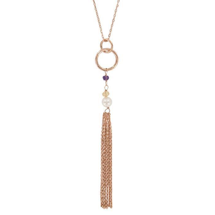 Jouailla - Collier - Argent 925-1000 - Doré rose - Améthyste cristal teinté et perle de nacre
