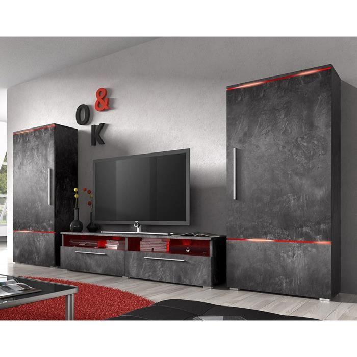 3e4a59b060aaf Ensemble meuble TV couleur effet béton ciré design - Achat   Vente ...