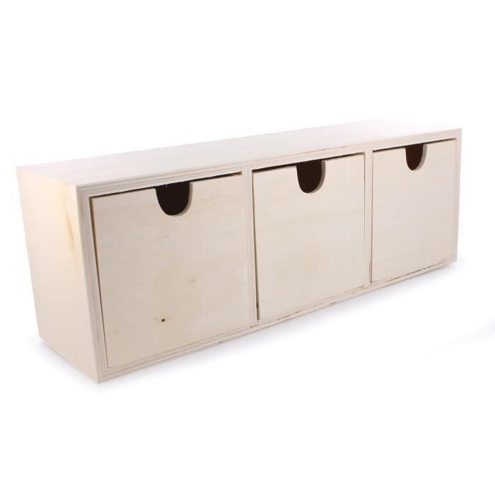 Petite boite de rangement en bois avec petits tiroirs for Petit meuble de rangement 3 tiroirs