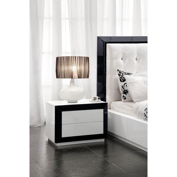 Table De Chevet Laque Noir Blanc Haute Brillance Achat Vente