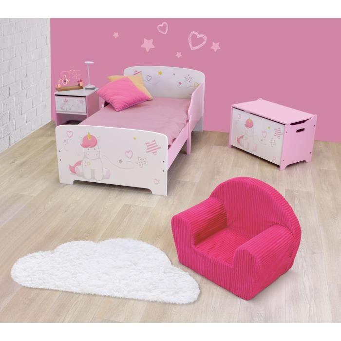 CIJEP Pack chambre pour enfant Fille rose et blanc thème Licorne ...