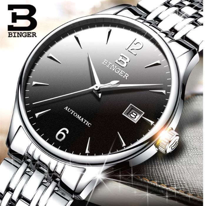 magasin en ligne 9e63f ce4d1 BINGER Montres Automatiques Pour Hommes Montres MéCaniques De Mode Horloge  Simple Avec BoîTe Cadeau