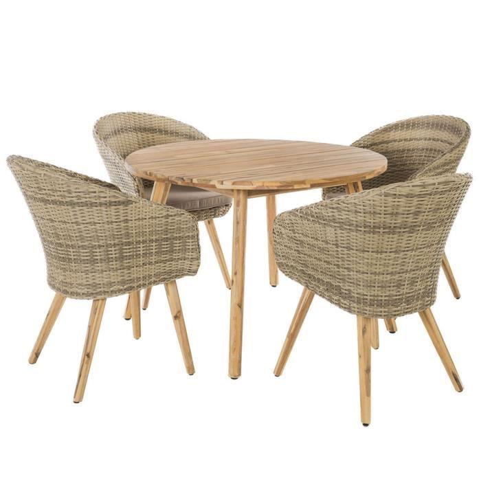 Salon de jardin avec fauteuils en rotin et acacia Naturel 60 x 63 x 84 cm
