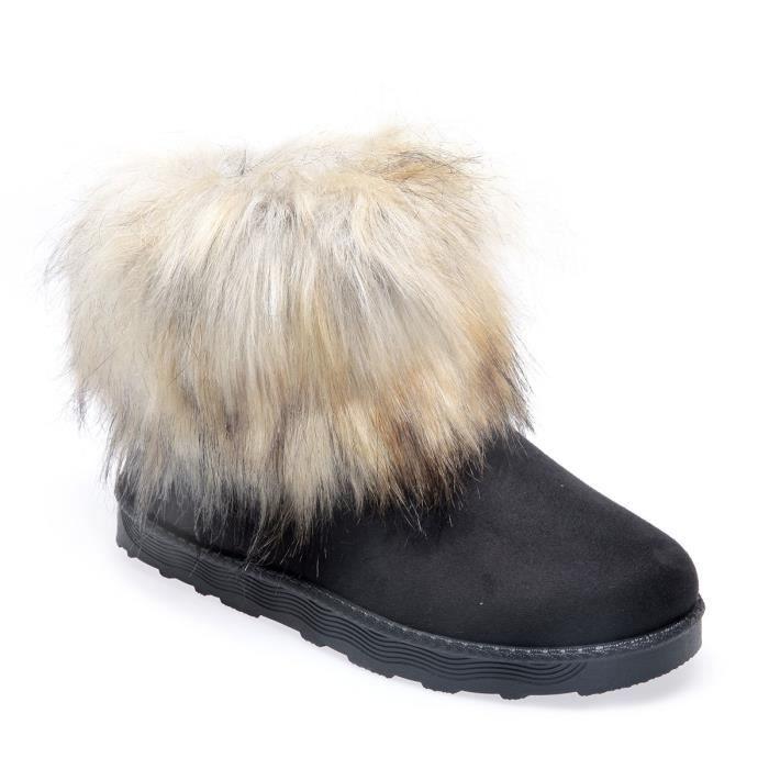 La Modeuse - Boots fourrées en suédine 40 Noir