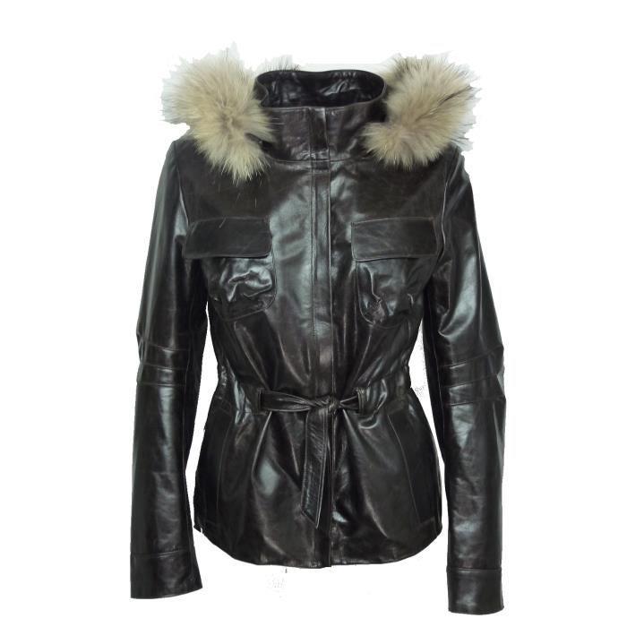 veste cuir femme made in france dks nny001 marron marron. Black Bedroom Furniture Sets. Home Design Ideas