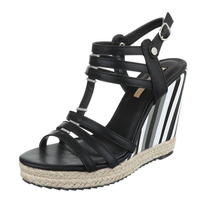 femme sandalette chaussure escarpin Chaussures de soirée Élégant Fête Club High-Heel semelle compensée Wedges Strappy noir