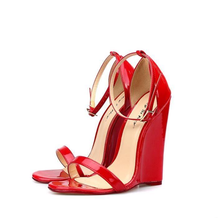 2017 Sexy Summer 14CM super hauts talons Compensées Sandales Femmes Fétiche Chaussures cheville de spartiates
