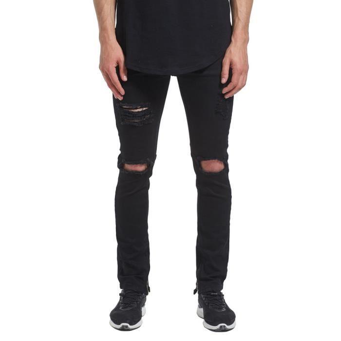 f7a7db5f0209f Jeans Homme jeans homme noir dechiré Droit Pantalon denim Homme troué  hipster a la mode