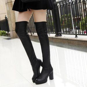 Frankmall®Mode tricotant au-dessus du genou Bottes orteil élastique extensible talon épais pour femmes Noir NYZ70928495BK PJ2SsGh