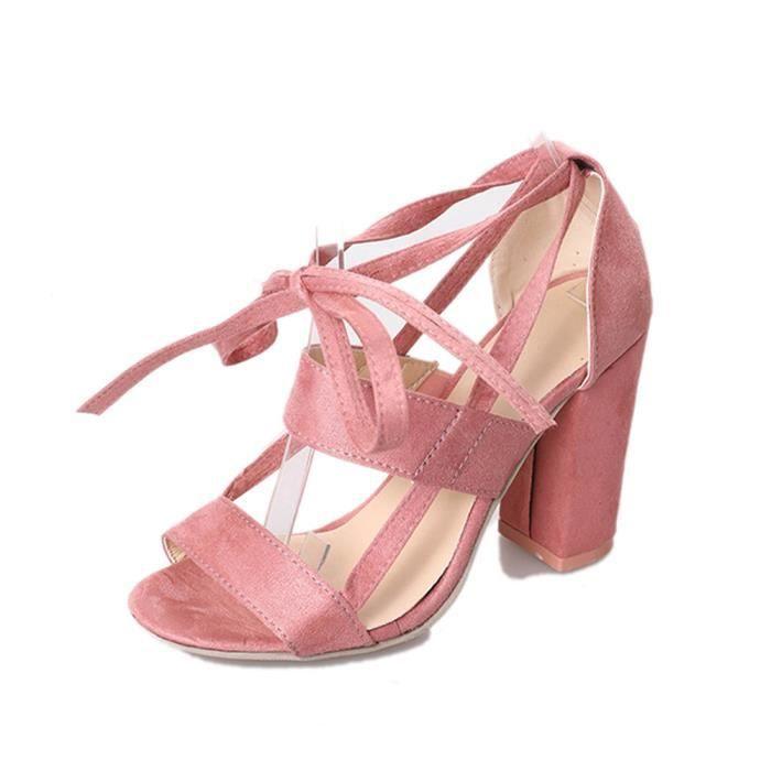 rose Femmes Mode Hauts Block Sandales Talons Toe Party Cheville Dames Chaussures Open Pd6HnrqUd