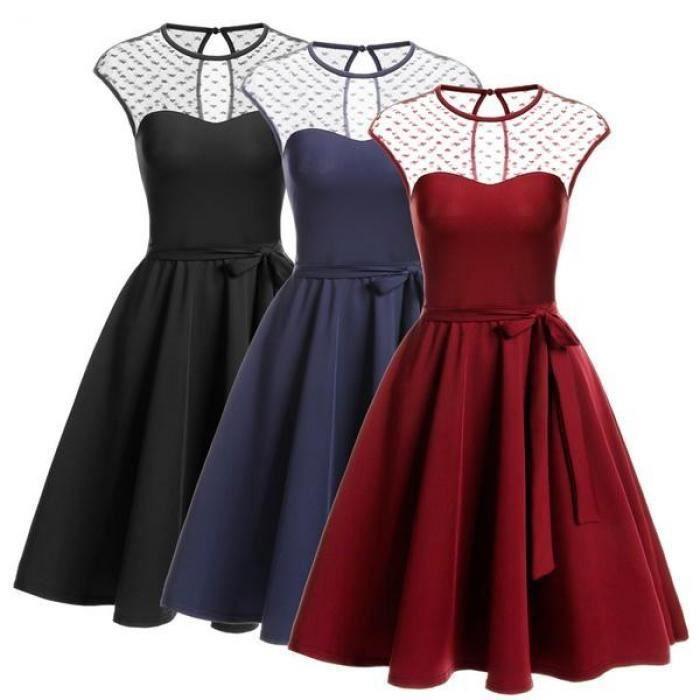Femmes robe plissée pure maille sans manches Keyhole retour ceinturée Cocktail