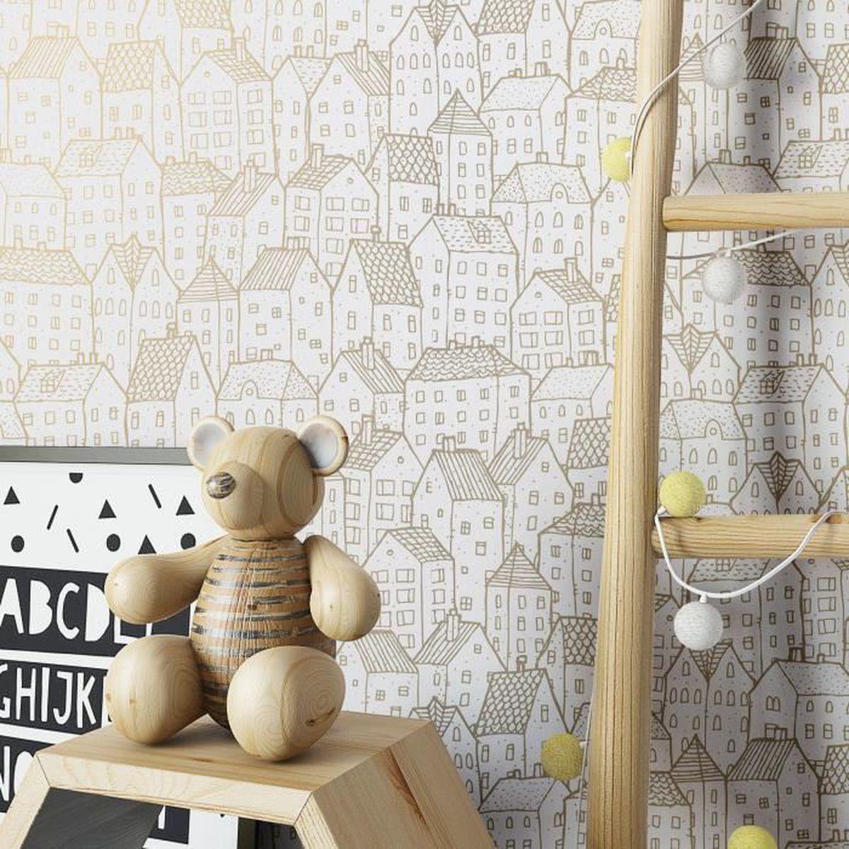 Papier peint chambre de b b enfants blanc moderne lavable lisse achat vente papier peint - Papier peint chambre bebe ...