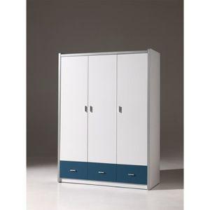 Armoire enfant 3 portes blanche et bleu ALVIN - Blanc et bleu ...