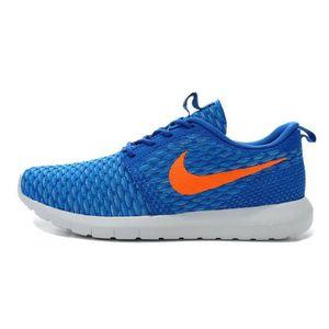 Hommes Nike Chaussurerunning Roshe Run Flyknit Baskets Chaussurerunning Nike bleu d339ca