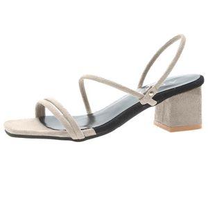 4f23e551fc5 Femmes à bout ouvert Respirant Plage bande élastique Sandales carrées Chaussures  Talons
