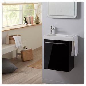 MEUBLE VASQUE - PLAN Pack meuble lave mains noir + Lave mains avec port