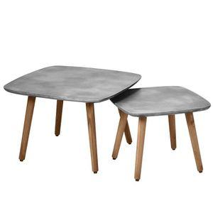 TABLE BASSE Table basse carrée Goma en béton (lot de 2)