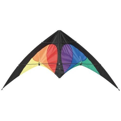 Cerf-volant Pilotables 2 Lignes Bebop multicolore, spi nylon - tube fibre de verre 4mm et 5mm - lignes dyneema 20 kg/20 m, avec poignée et fil, dimensions 145 cm x 69 cm.CERF-VOLANT