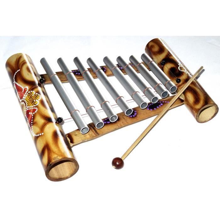 xylophone bambou instrument musique bois artisanat bamboo m tal peint pas cher achat vente. Black Bedroom Furniture Sets. Home Design Ideas
