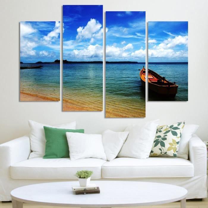 sans cadre 4 panneaux bleu ciel vue sur la mer peinture murale grand imprimer photo hd toile. Black Bedroom Furniture Sets. Home Design Ideas