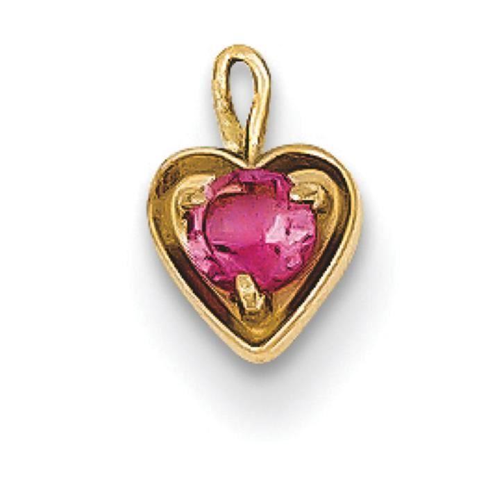 14 carats Cœur avec pierre de naissance (octobre)-Dimensions :6 x 5 mm