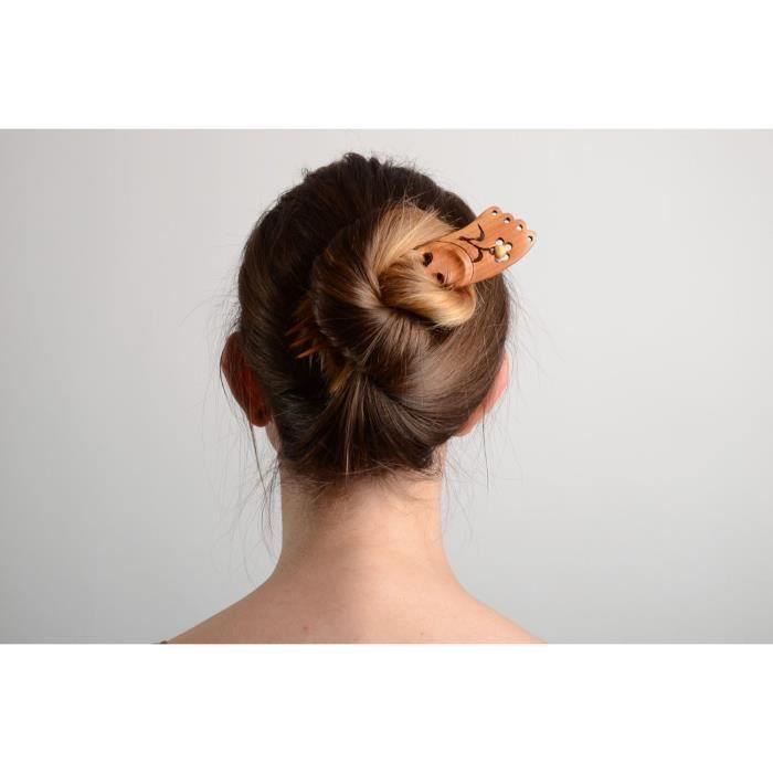 apparence élégante mode commercialisable Pince pour cheveux en bois taillée faite main originale ...