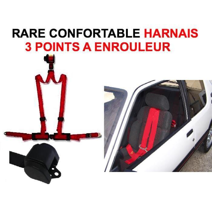 CEINTURE DE SECURITE INTROUVABLE GENIAL HARNAIS ROUGE 3 POINTS A ENROUL 31942de6ae3