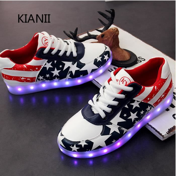 Chaussures Baskets LED USB Rechargeable 7 Couleurs Chaussure LED Clignantes Unisexe Baskets Lumineuses