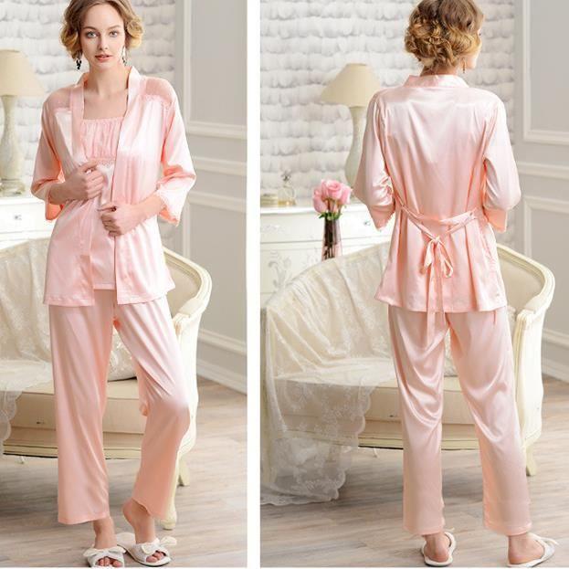 Polyester Combinaison À Sexy chemise Pyjama Femme Set En Pièces 3 Bretellespantalons Légerdébardeur FclTJ1K