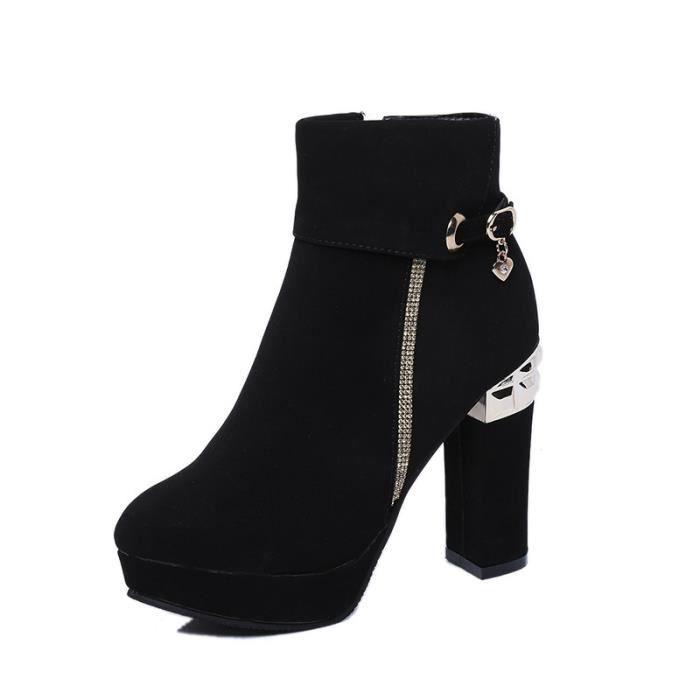 Nouveau Femmes Mode Marque Sexy Lacet Bottes Lady filles printemps et d'automne bottes à hauts talons Chaussures Casual,noir,40