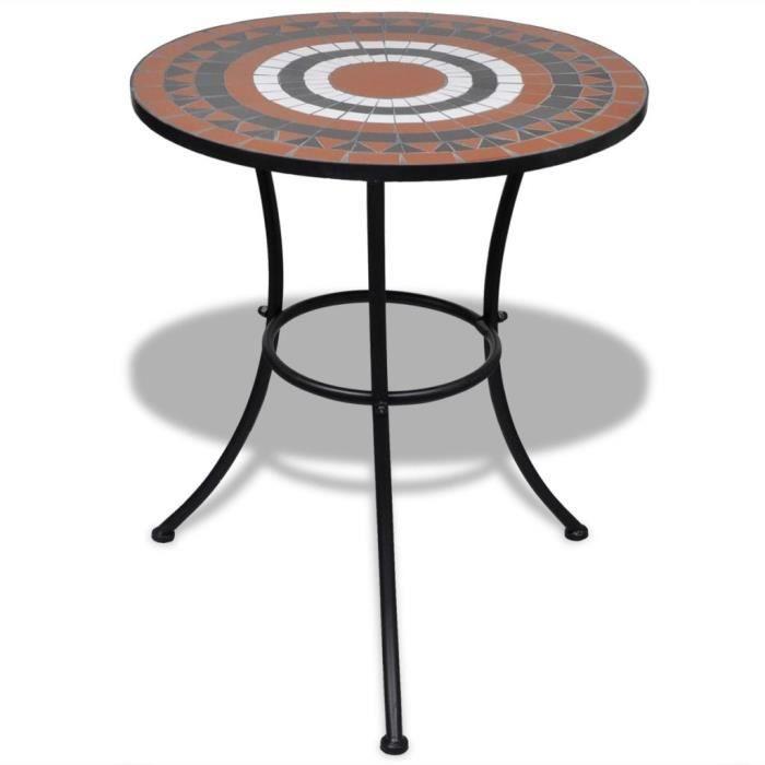 Table mosaïque terre Jardin Table de Balcon Table Intérieur et Extérieur  Table d\'appoint Table basse cuite - blanc