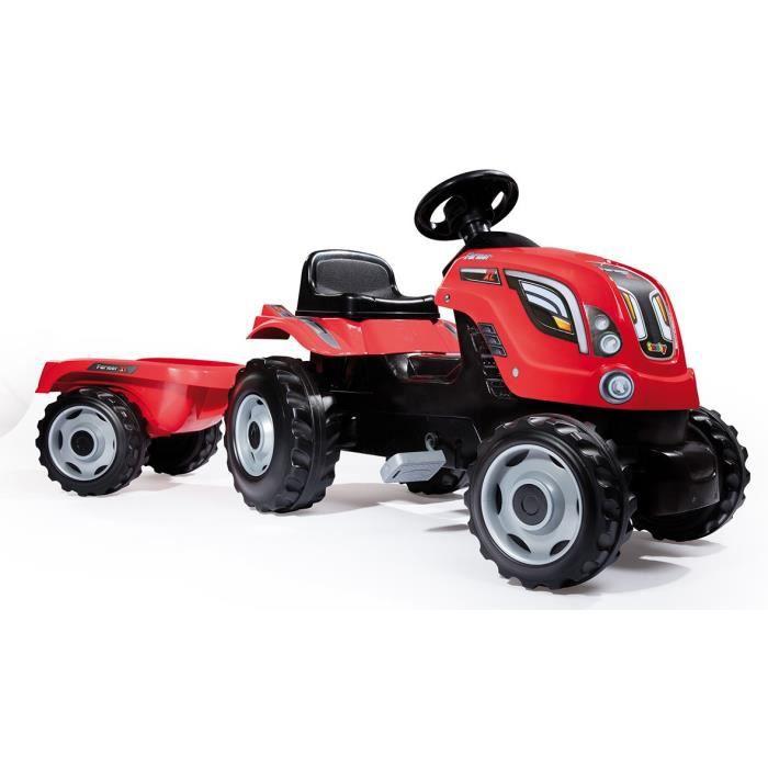TRACTEUR - CHANTIER SMOBY Tracteur à pédales Farmer XL Rouge + Remorqu