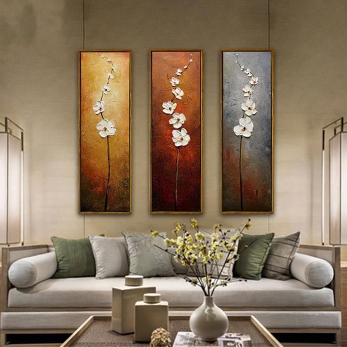 tempsa 3pcs peinture l 39 huile tableau fleur abstraite art. Black Bedroom Furniture Sets. Home Design Ideas
