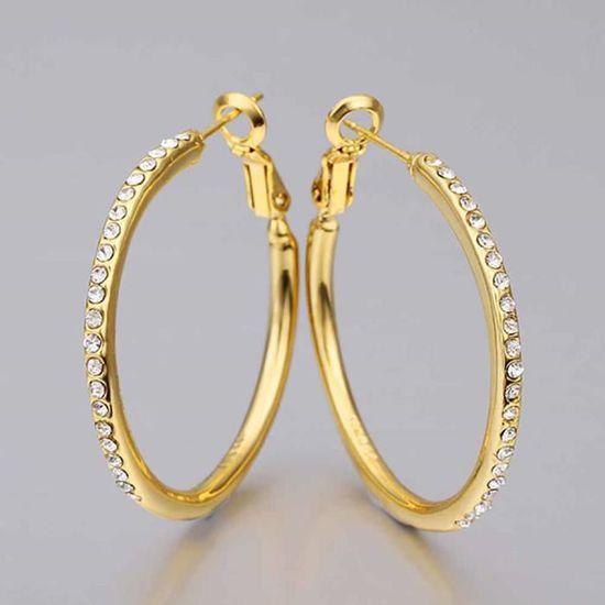 Boucles d oreilles créole Doré or jaune 750 00 18K carats Bijou fantaisie  haut de gamme Zircon Femme Jaune Rivière de zircons Gina - Achat   Vente  boucle ... d35e946ca698