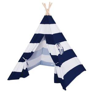 TENTE TUNNEL D'ACTIVITÉ Coton Toile Tente Enfant en bleu et blanc