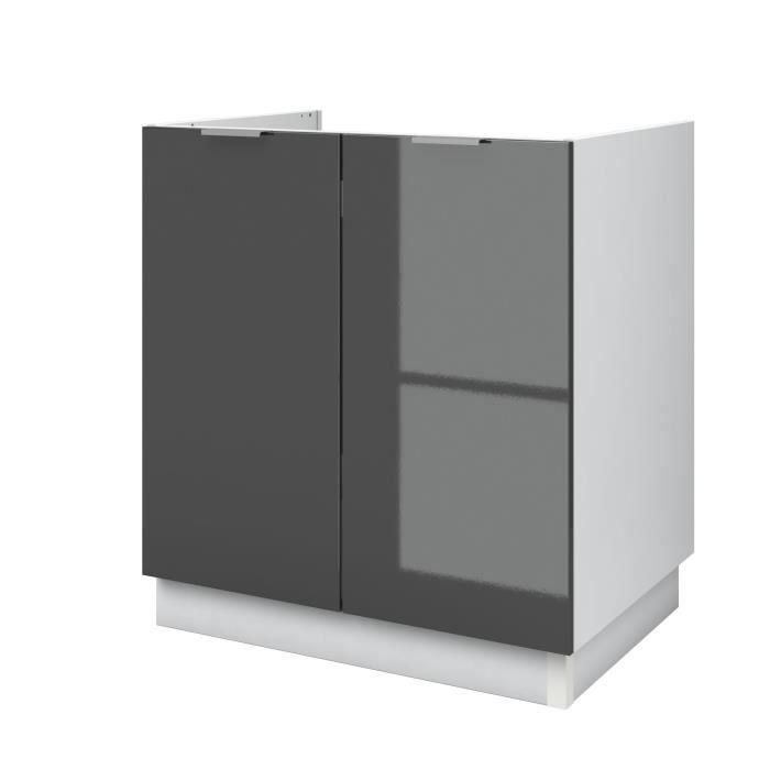 AVA Meuble sous-évier de cuisine de cuisine L 80cm - Gris laqué
