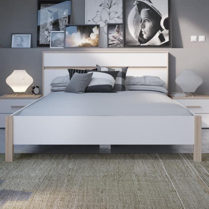 Panneaux de particules décor chêne brossé et blanc perle - l 160 x L 200 x H 98,2 cm - Fabrication françaiseSTRUCTURE DE LIT