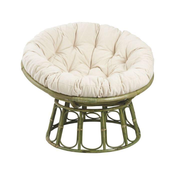 fauteuil papasan en rotin vert avec coussin cr achat. Black Bedroom Furniture Sets. Home Design Ideas