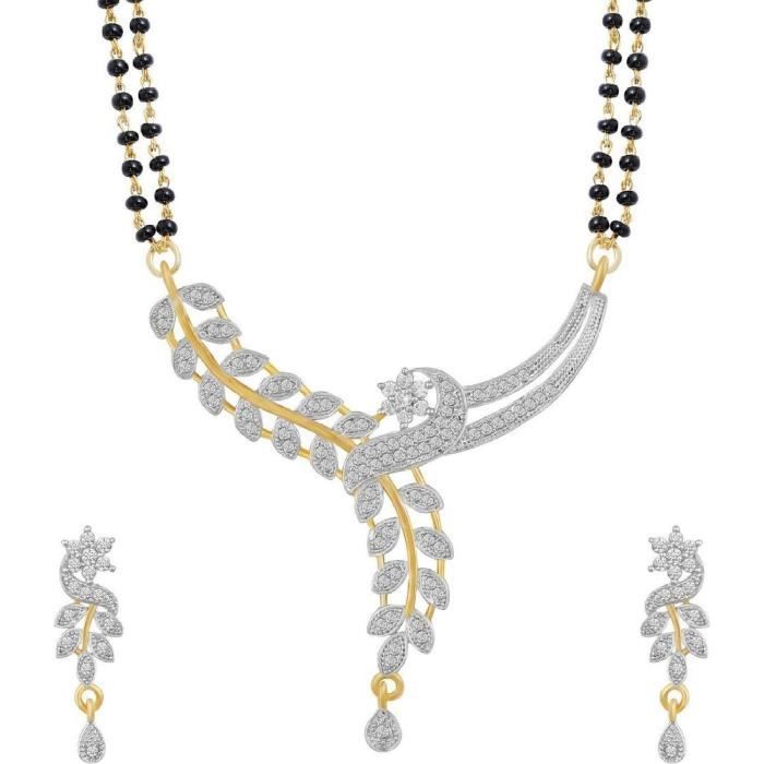 Élégant américain diamant plaqué or de galsutra de femmes avec boucles doreilles et chaînes pourZAI28