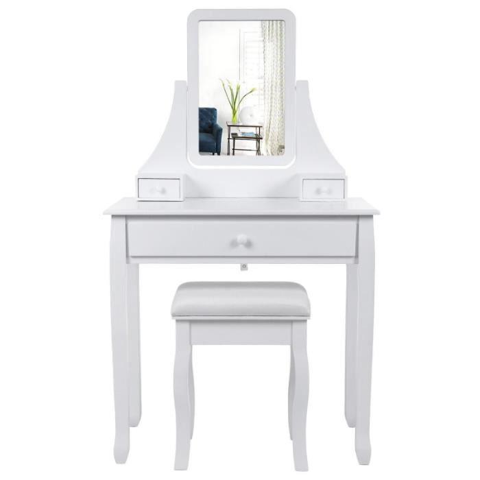 Coiffeuse bois avec grand miroir et 3 tiroirs et tabouret for Coiffeuse avec 3 miroirs