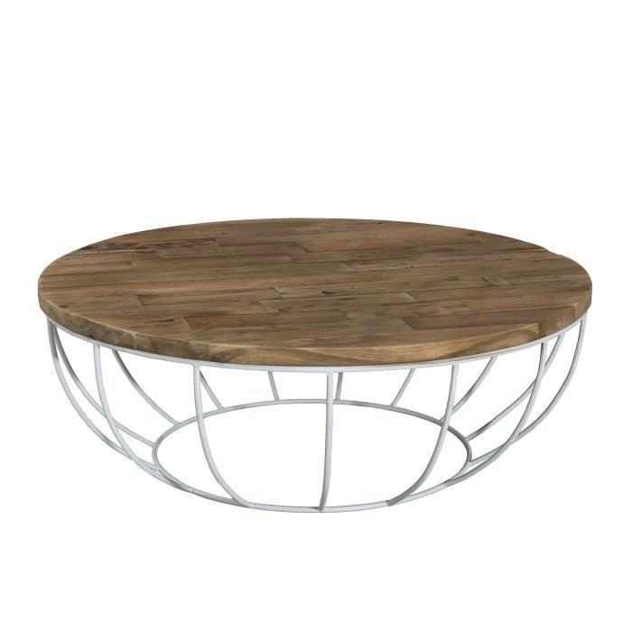 Table Basse Ronde Style Industriel En Bois Teck Pieds En Métal Et Coque Blanche ø 100 Cm