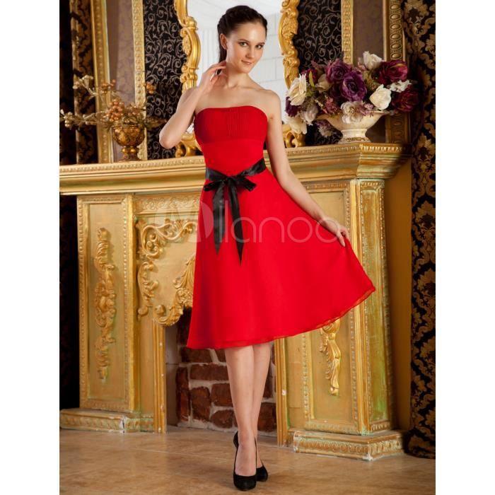 Robe de cocktail rouge bustier avec ceinture Noir Noir - Achat ... 95d83d74c83