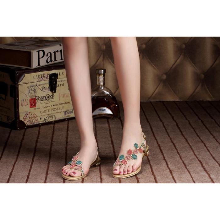 Sandales d'or Nouvelle feuille de bohême strass cloutés talons bas chaussures de mariage mariée MTZ47c