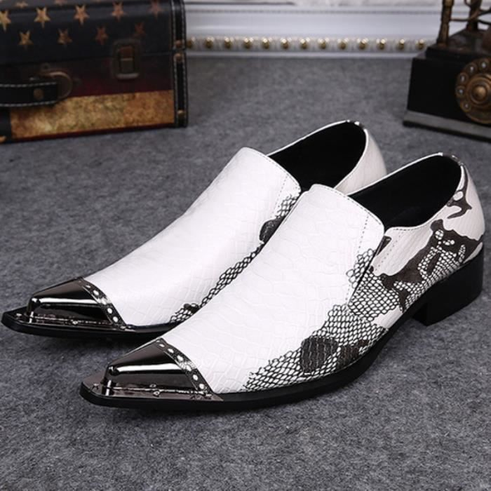 Chaussures en cuir véritable pour hommes Brand New Business Party Dress Blanc Mode Hommes Casual Flats Oxfords rE2y4oh