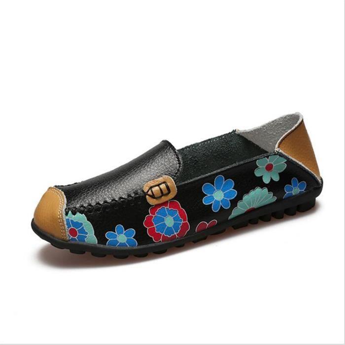 Mocassins Femmes Printemps ete Cuir Chaussures ZX-XZ056Noir44
