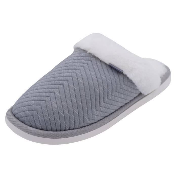 Cozy Embossed House Cotton Slippers Fur Lining Warm Winter Slippers DDG9M Taille-40 1-2