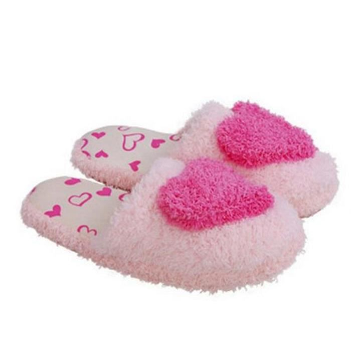 Chausson Pantoufle Hiver Confortable Forme Coeur Peluche Chausson BTYS-XZ001Rouge-41 2Up40rV