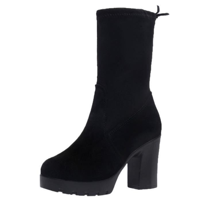 Noir Mince Bottes Haut Femmes Avec Chaussures Talon Épais Martin D'âge Élastique 7ZOqwgvxS